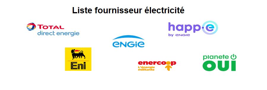 Liste fournisseurs électricité