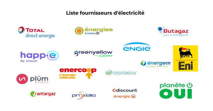 Liste fournisseurs d'électricité